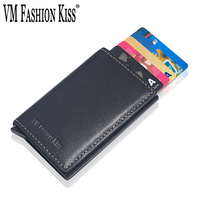 VM FASHION KISS Automatic Aluminum Cash Card Holder Genuine Leather Business RFID Block Wallet For Credit