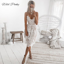 WildPinky Sexy Party Dress Women Summer Deep V Neck Backless Lace Dresses Fashion Sleeveless Halter Bandage Midi