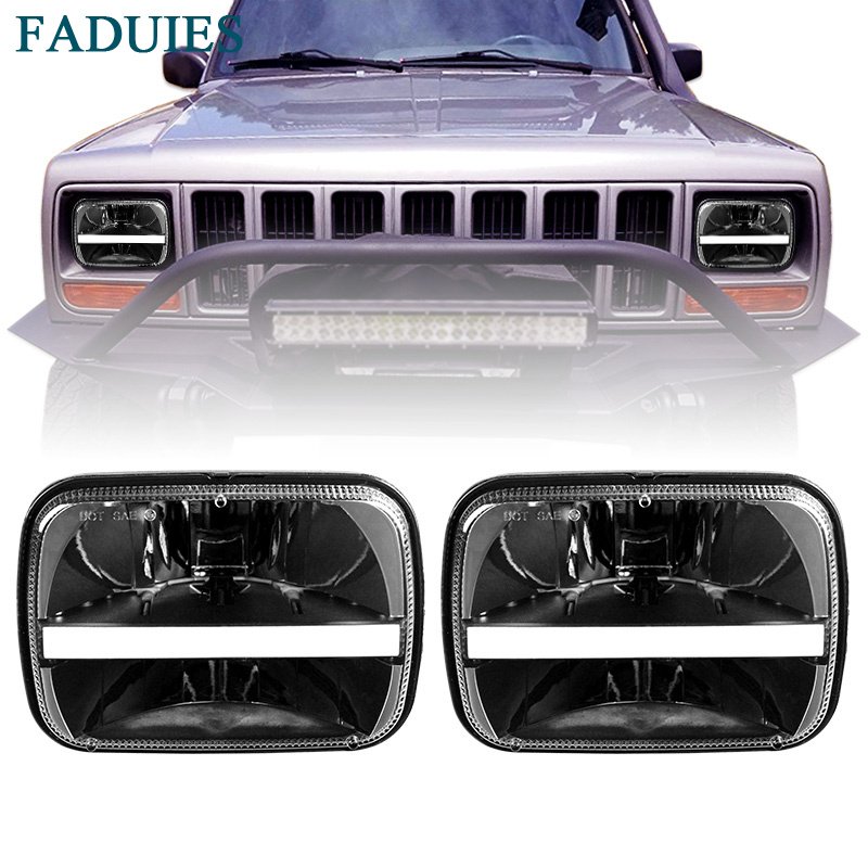 5 x 7 Rectangular LED Headlights DRL Turn Signal For Jeep Wrangler Cherokee XJ Trucks Offroad Headlamp Replacement H6054 H5054 universal black 3 76mm polished aluminum fmic intercooler piping kit diy pipe length 450mm for jeep cherokee xj ep lgtj76 450