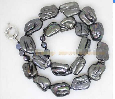 """+++++++ Beauté 15-20mm baroque noir énorme biwa perle à la main en pierre collier 18"""""""