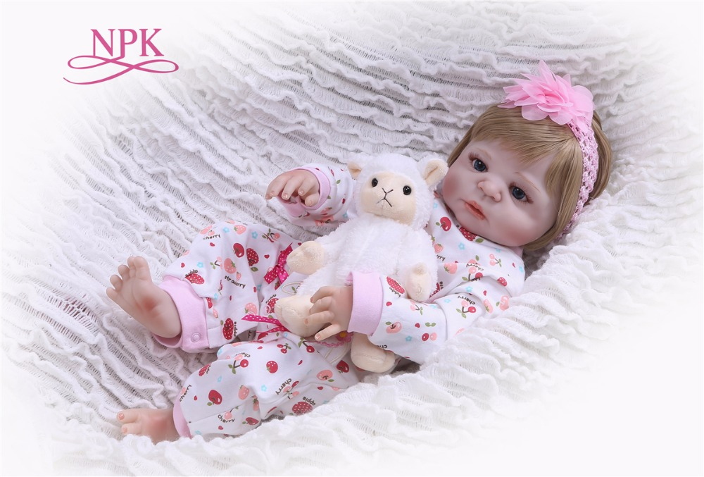 NPK 57CM Boneca bebes Reborn shivering apple Full Vinyl Reborn Baby Doll Toys Lifelike Child Birthday