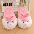 WEISE Free shipping 2017 new style autumn Couple Cute Puppy Pig Plush Winter Home Warm Cotton Slippers Double