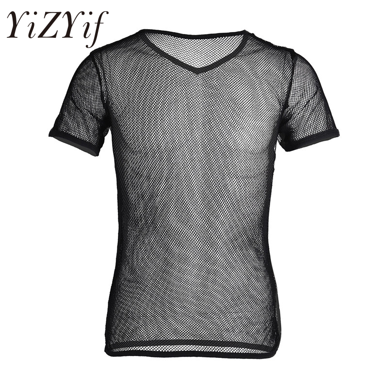YiZYiF Sexy <font><b>Mens</b></font> <font><b>Mesh</b></font> See Through T Shirts Transparent Tops Tees Sexy Man <font><b>Tshirt</b></font> Singlet Male clubwear Clothes T-shirt Clothing image