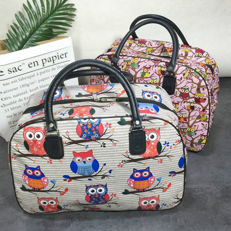Women Travel Bags  PU Leather Large Capacity Waterproof Owl Cartoon Print Luggage Duffle Bag Men Casual Travel Bags