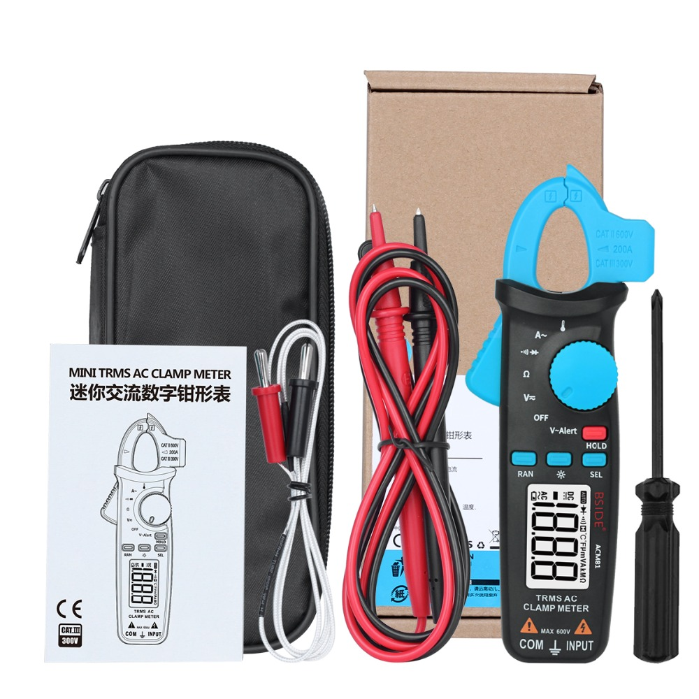 BSIDE 2000 Counts ACM81 TRMS AC Clamp Meter 1mA Auto-Ranging Digital Multimeter Voltage Current Diode Tester with Back Clip