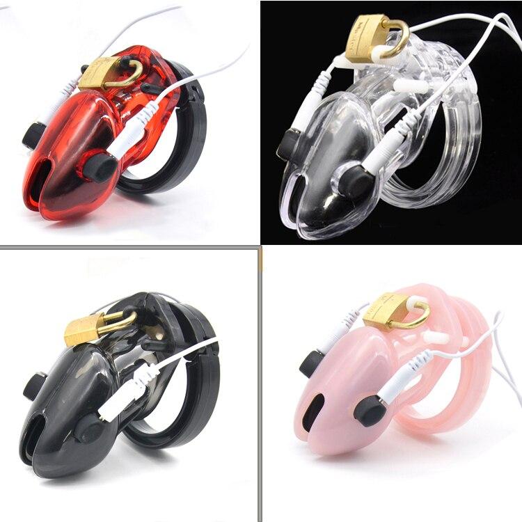 Men Chastity Lock short Cock Cage Male Electro Chastity Device+Power box Shock Men Penis lock Plastic Device