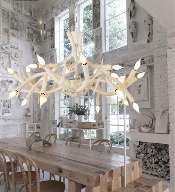 White Resin Deer Antler Chandelier Light Fixture Modern