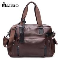 Baigio Men S Travel Bag High PU Leather Overnight Tote Duffle Handbag Large Capacity Designer Carry