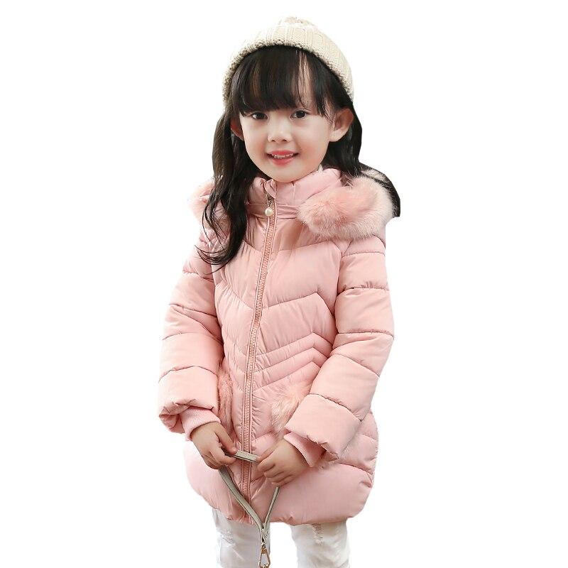 2016 Sıcak Varış Kız Pamuk Jakcet Ceket Çocuk Kış Katı Kapşonlu Dış Giyim Coat Çocuk Kalınlaşmak Kürk Yaka Parka Ceket YRF241