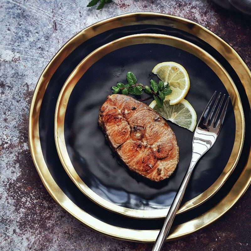 4 pz 8/10 pollici piatto piatto set Nero coincidenza piatto set Da Tavola set piatto di Servizio set di Elettrodomestici Da Cucina cucina Forniture