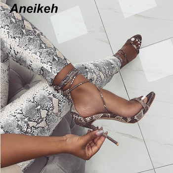 Aneikeh Fashion 2019 Summer Women's Sandals PU Lace-Up Thin High Heels Cover Heel Shallow Mature Serpentine Dance Solid 35-40 1