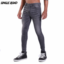 цены на Single Road Grey Jeans Men 2019 Mens Biker Super Skinny Jeans For Men Streetwear Stretch Denim Pants Slim Fit Brand Jeans Man  в интернет-магазинах