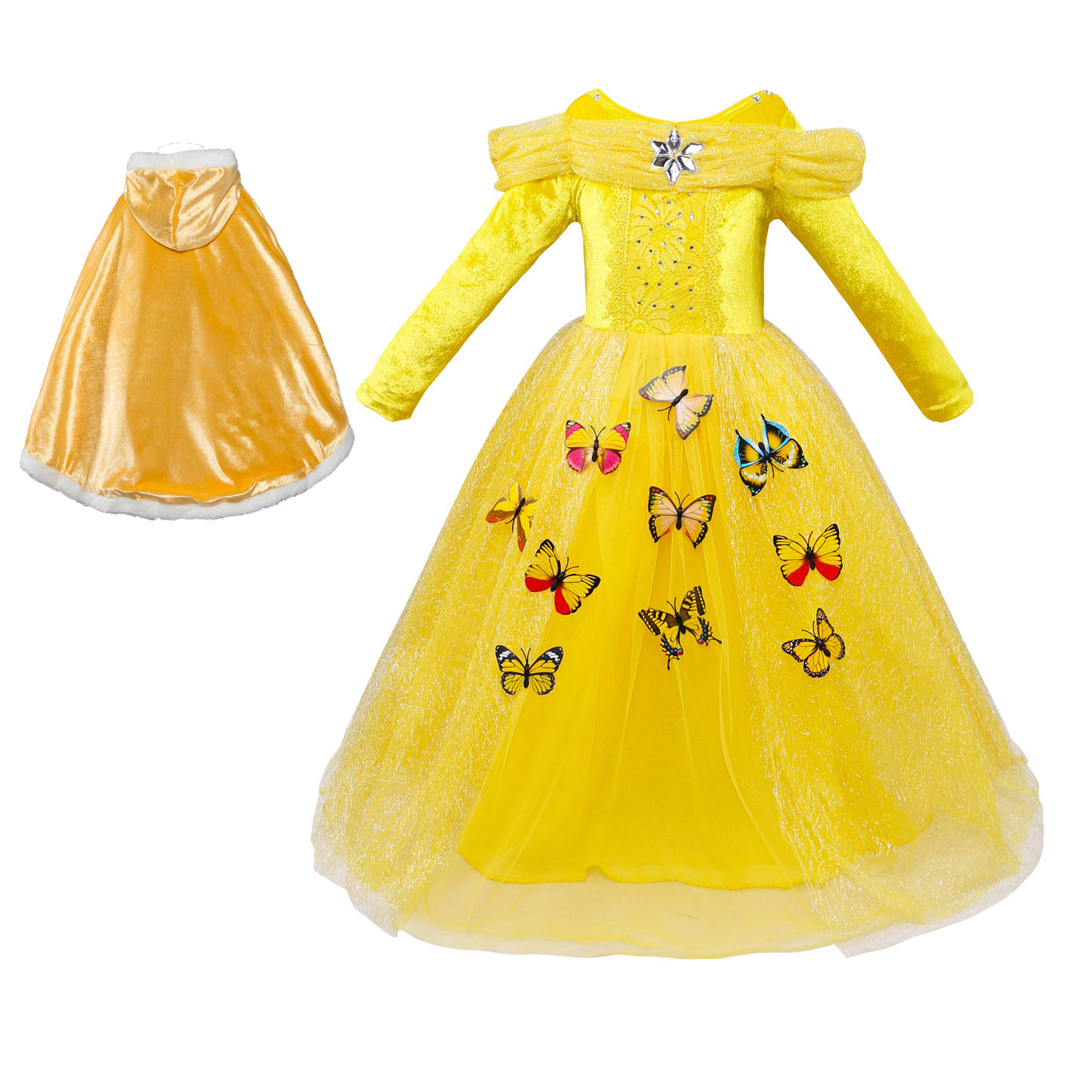 Childrens Halloween Costume Catalog Princess Cinderella Sleeping Beauty Belle Costume for Kids Cape Cosplay Outfits Girls
