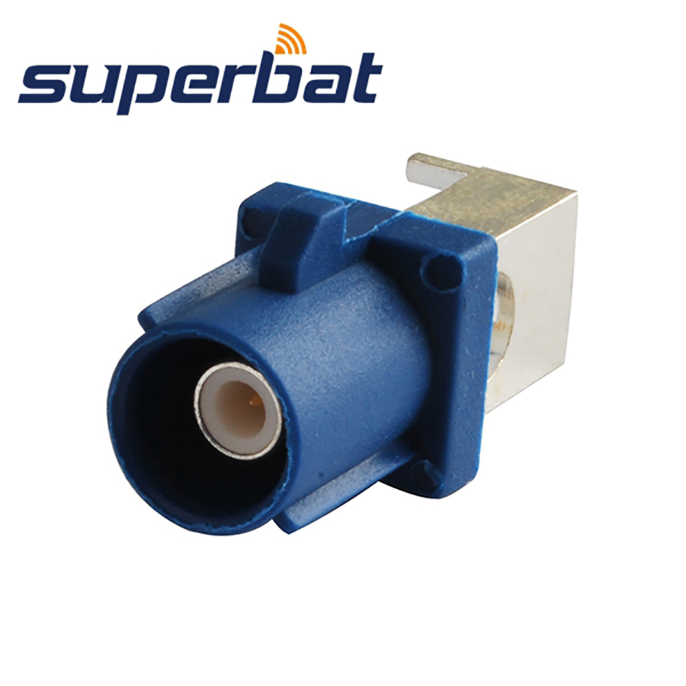 Superbat RF Coaxial Connector GPS Telematics or Navigation Fakra C Plug Male End Launch PCB Mount Right Angle Blue Connector