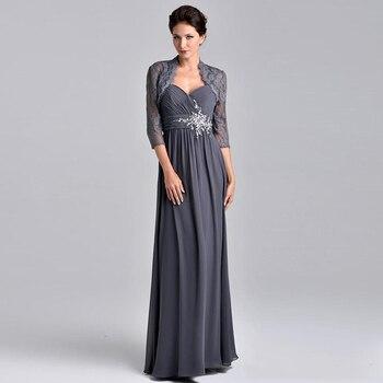 c9c6b71522d Элегантный шифон мать платья Аппликация из бисера Кружева Вечерние платья с  кружевной жакет для матери невесты платья