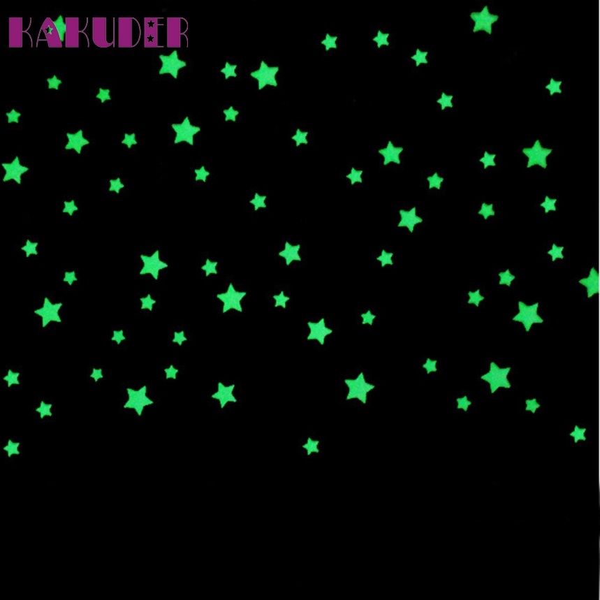 Top Grand 100Pcs/Set Kids Bedroom Beautiful Fluorescent Glow In The Dark Stars Wall Stickers Baby Rooms Sticker Home Decoration