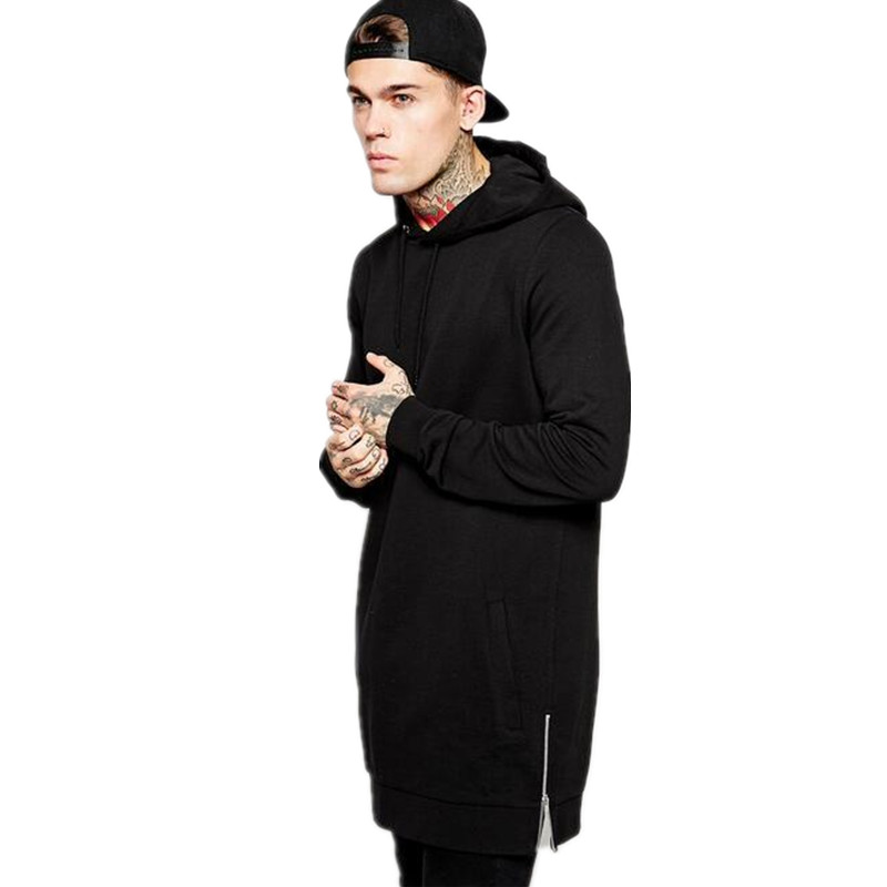 Mens Hip Hop Fleece Sweatshirts With Hoody Side Zipper European Design Long Pullovers Men Hoddies Casual Sportswear QQ0421