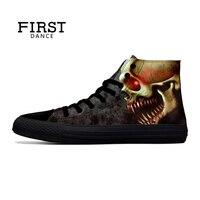 FIRST DANCE Punk Nice Skull Shoes Men Black Classic Canvas Men Shoes Fashion High Top Shoes