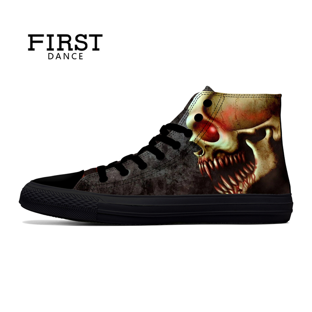 FIRST DANCE Punk Nice Skull Men Black <font><b>Shoes</b></font> Classic Canvas Men Casual <font><b>Shoes</b></font> Fashion High Top <font><b>Shoes</b></font> Men Printed Canvas Sneakers