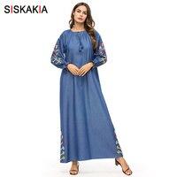 Siskakia Floral Embroidery Maxi Dresses for Women Long Sleeve O Neck Tassel Drawstring Swing Leisure Long Dress Muslim 2019 Blue