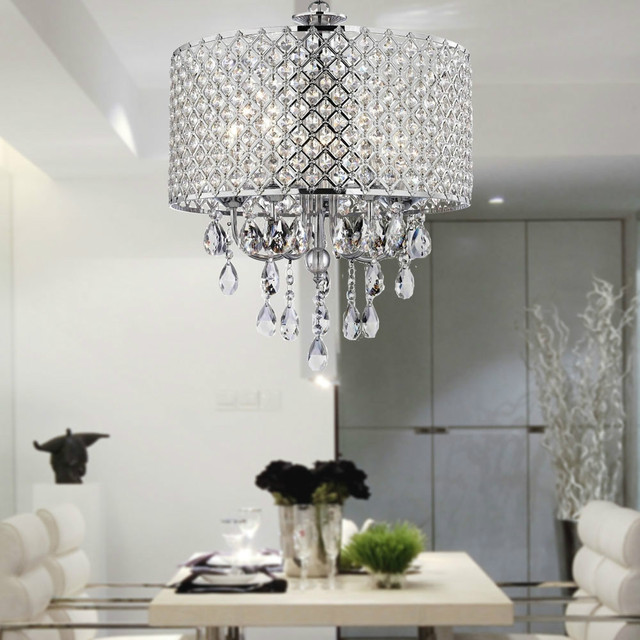 MAMEI Free Shipping Chrome Finish 4 light Crystal Chandelier Drum ...
