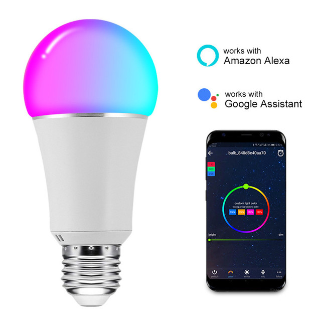 HZFCEW 7W Smart RGBW WiFi Control Bulb Connect Alexa and Google Home Voice and APP Control Long-Range and Group Control CR011
