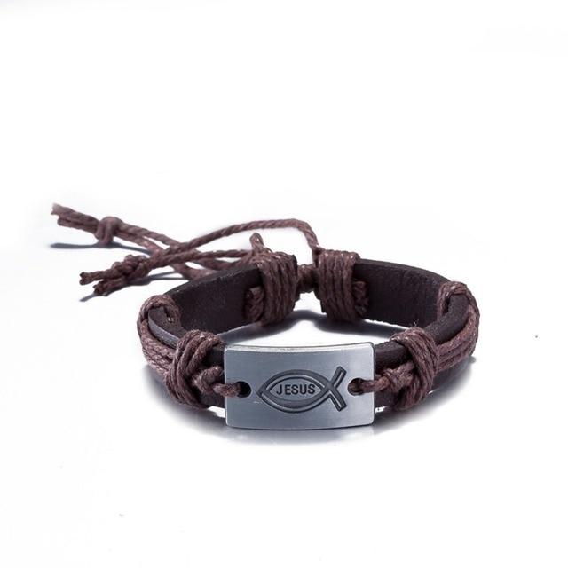 c6c9ceebee50 Vintage pulseras de cuero grabado Amuletos amistad pulsera étnica plata  braceletes Prata Jesus pulseiras para as