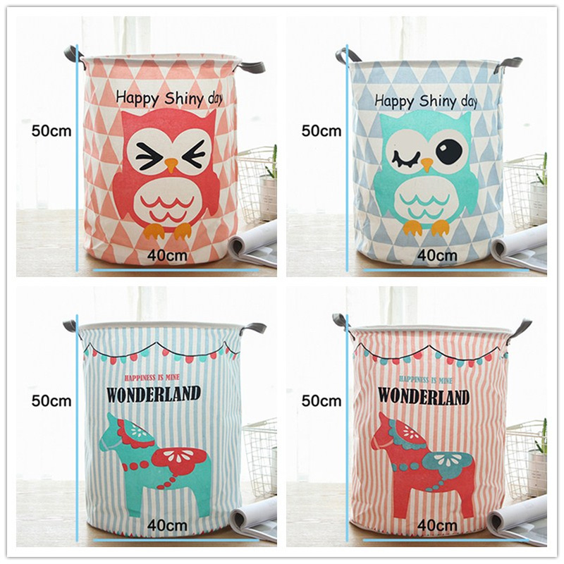 Baby Laundry Folding Basket Cotton Linen Dirty Clothes Sundries Basket Box Picnic Box Bag Organizer Basket For Toys 40*50cm