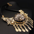 Boho Style Fine Jewelry Vintage Ethnic Carved Pendant Choker Statement Necklace Retro Leather Rope Tassel Necklace For Women X16