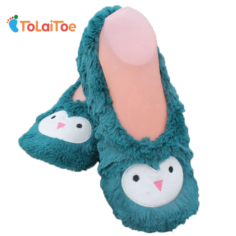 ToLaiToe Best Style Winter Cute Embroidered Cartoon Home Slippers Animal Flannel Slippers Plush Home Slippers anime cartoon monster mudkip flareon snorlax adult plush slippers home winter slippers plush toys
