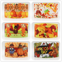 wm 10 yards lot 3inch 75mm Thanksgiving Day design printed grosgrain ribbon()