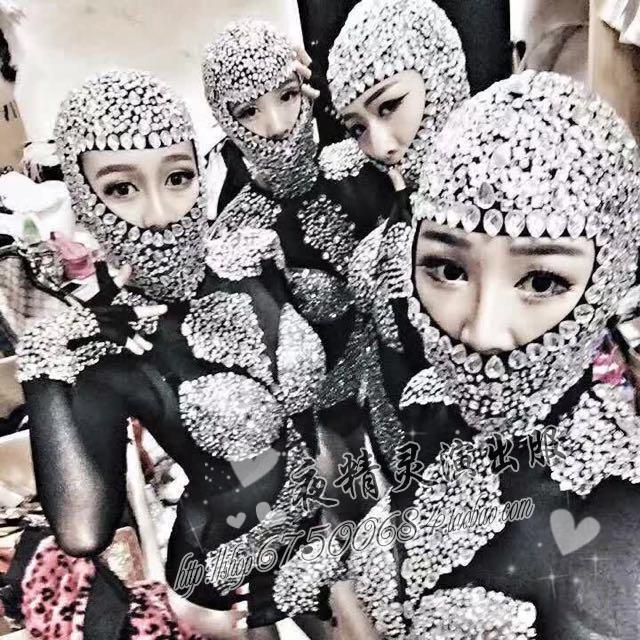 Boate Dj Feminina ds Cantor trajes Sexy Bodysuits trajes Diamante Sparkling uma peça vestido cantor dancer roupa da equipe