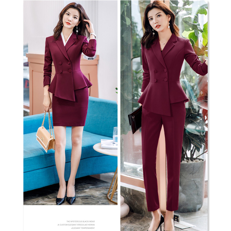 Pant Suit Office Clothes 4XL Plus Size 2 Piece Set Blazer Jacket Trousers Costume Interview Host Business Lady Work Suit ow0519 56