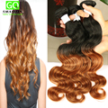 Cheap Ombre Human Hair 100g Bundles Peruvian Body Wave Wet and Wavy Ombre Hair 1b/30 3PCS Human Hair Weave Ombre Virgin Hair