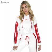 цена 2018 New Fashion Women Tracksuit 2 Piece Set Both Arms Print Vertical Bar Letter Print Women Sets Laipelar онлайн в 2017 году