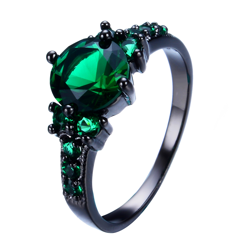 Vintage 8mm green jewelry women wedding ring anel retro for Green wedding ring