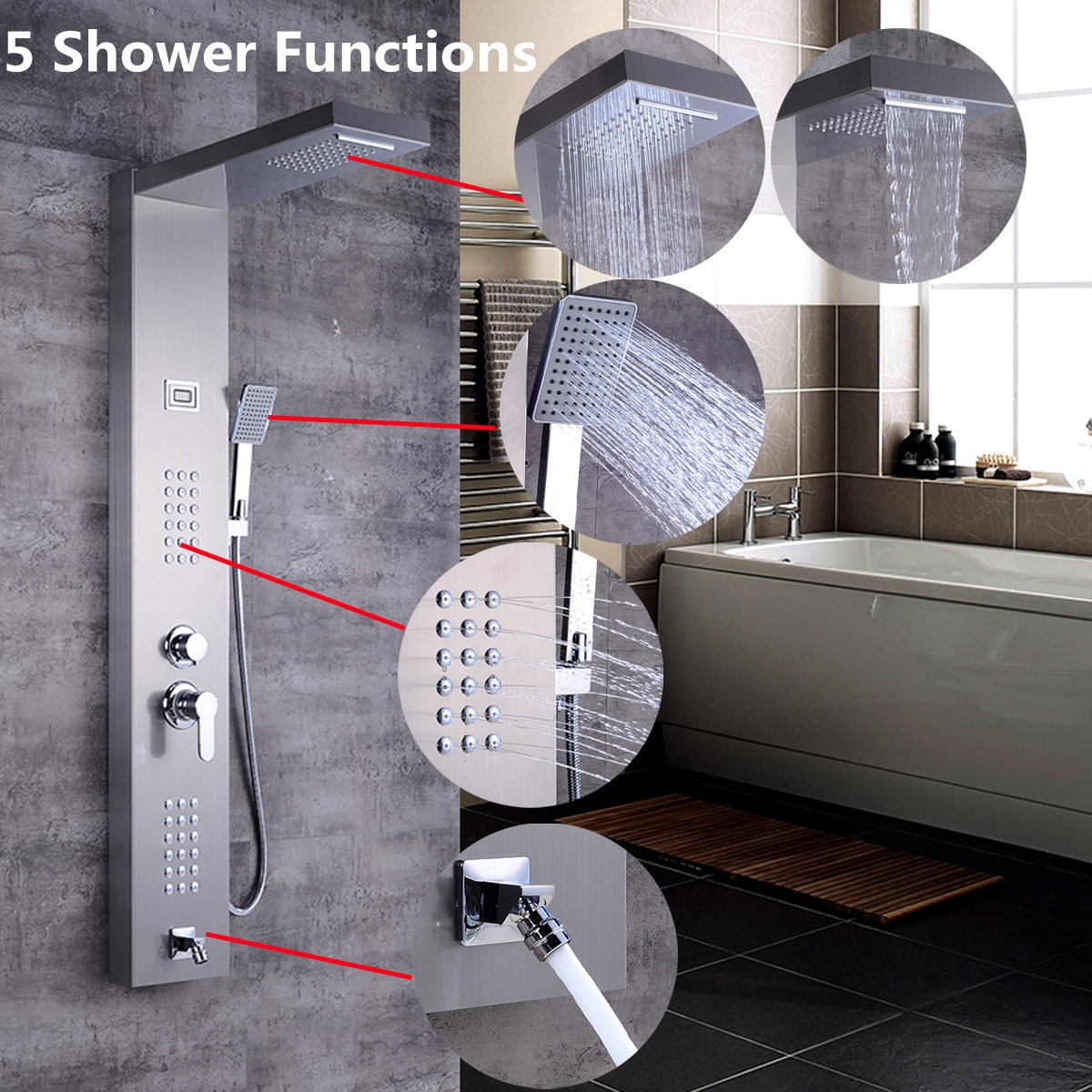 Shower Equipment Brushed Nickel Finish Massage Jet Tankless Rainfall Shower Tower Bathroom Rainfall Shower Panel Thermostatic Spout Shower Column Shower Faucets