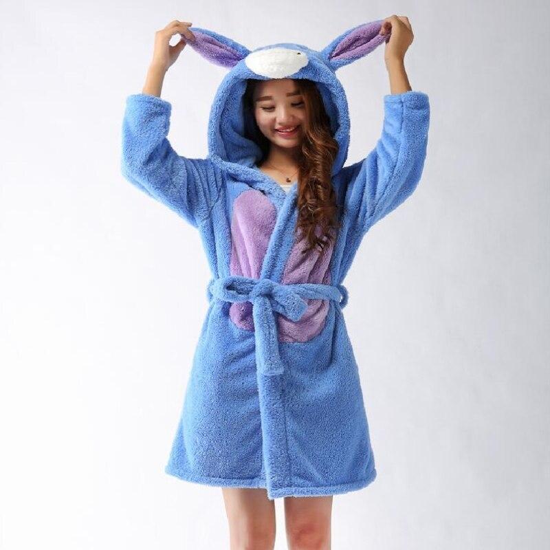 Spring Autumn Winter Flannel Animal Eeyore Women Robe Hooded Casual Towel Bathrobe Nightgown Ladies Long Blue
