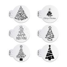 6 pçs/set Árvore De Natal Bolo de Rendas Festa de Casamento Molde Do Bolinho Cupcake Decoração Stencils Template Ferramenta Bolo