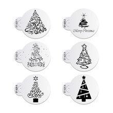 6 teile/satz Weihnachten Baum Kuchen Spitze Schablonen Hochzeit Party Cookie Mould Cupcake Dekoration Vorlage Kuchen Werkzeug