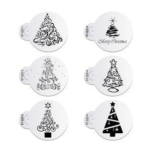 Image 1 - 6 teile/satz Weihnachten Baum Kuchen Spitze Schablonen Hochzeit Party Cookie Mould Cupcake Dekoration Vorlage Kuchen Werkzeug