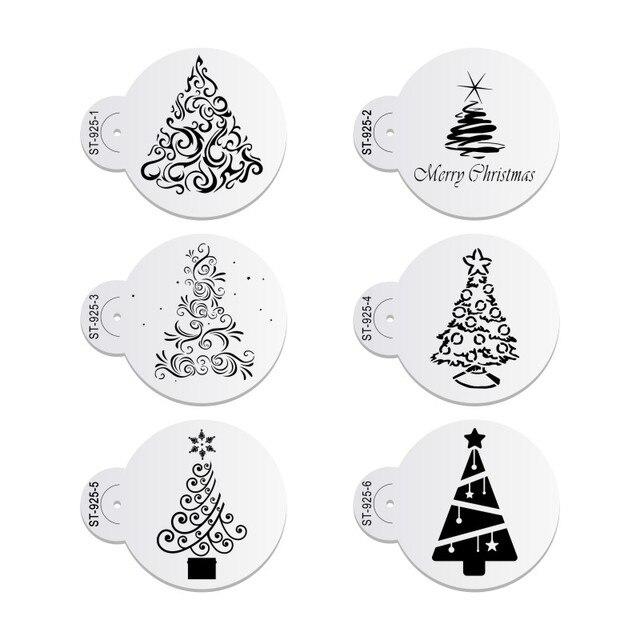 6 יח\סט חג המולד עץ עוגת תחרה סטנסילים מסיבת חתונת קוקי עובש Cupcake קישוט תבנית עוגת כלי