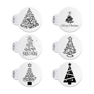 Image 1 - 6pcs/set Christmas Tree Cake Lace Stencils Wedding Party Cookie Mould Cupcake Decoration Template Cake Tool
