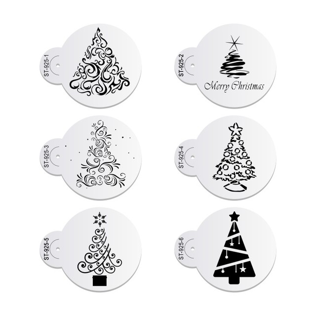 6pcs/set Christmas Tree Cake Lace Stencils Wedding Party Cookie Mould Cupcake Decoration Template Cake Tool