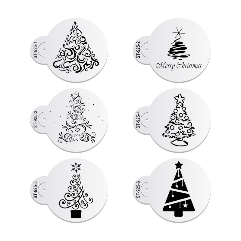 Christmas Tree Stencils: 6pcs/set Christmas Tree Cake Stencil Wedding Party Cake