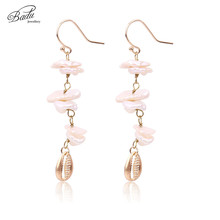 Badu Women Gold Earring Freshwater Pearl 2017 New Trendy Irregular Shell Pendant Dangle Earrings Vintage Jewelry Mother Gift