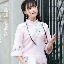 Nagodo Girls Embroidered Top 2019 Summer Women China Clothing Store Mandarin Collar Shirt Chinese Tunic Top Cheongsam Shirt цена