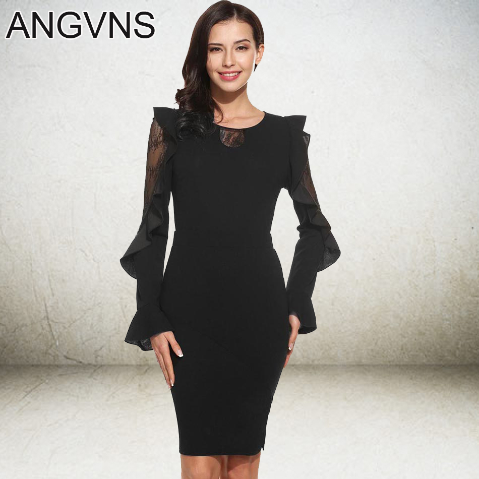 Buy Cheap ANGVNS Black Lace Dress Women 2017 New Midi Lady Vintage Elegant Summer Spring Casual Vestidos Bandage Party High Waist Dresses