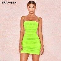 ERDAOBEN Summer green bodycon Dress Evening Party Dresses Sexy Club HL mini Vestidos BD1909