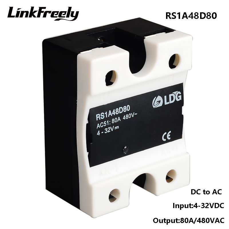 RS1A48D80 Mini PLC 80A 220V SSR Solid State Relay,5V 12V 24V 32V DC Input Output 42 530V AC,Voltage Control Relay Switch Module